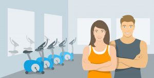 Personal fitness trainers in gym. Smiling young woman and man sport instructors in fitness room with exercise bikes. Promotional vector illustration of sport club, fitness center, individual training.