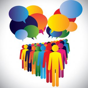 Concept vector - company employees interaction & communication. This graphic can also represent leadership concept, teamwork, meeting, employee discussions, people expressing opinions, group chat, etc